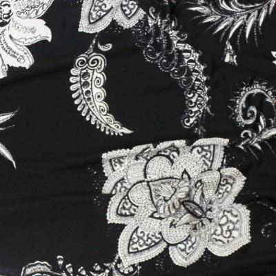 ミラノインポートフラワー / Black & White Polyester Floral from Milano(5701-11)