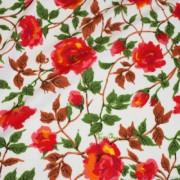 ホワイト×レッド×グリーン フラワー柄 / White Stretch Nylon Floral(1052231-2)