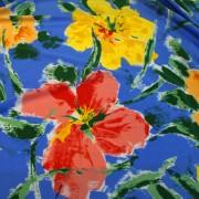 STUCCHI ブルー×レッド×イエロー フラワー柄 / Blue Stretch Nylon Floral(3310-1)