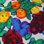 STUCCHI ブルー×オレンジ×グリーン他 フラワー柄 / Blue Stretch Nylon Floral(3310-29)