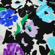 STUCCHI ブラック×ホワイト×ブルー他 フラワー柄 / Black Stretch Nylon Floral(3310-37)