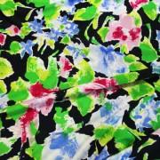 STUCCHI グリーン×ブラック×ブルー フラワー柄 / Green Stretch Nylon Floral(3310-4)