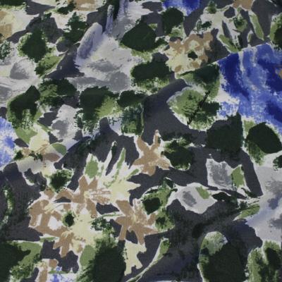 STUCCHI グレー×グリーン他 フラワー柄 / Gray Stretch Nylon Floral(3310-8)