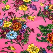 NEPHILA ピンク×マルチカラー フラワー柄 / Pink Stretch Nylon Floral(8310-37)