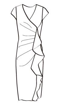 カシュクールセンターフリルタイト(MCOP-10) / Fitted Wrap Dress with Frill at Front