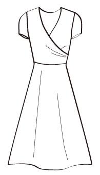 カシュクールひもなし(MC-OP-2) / A-Line Cap Sleeve Dress