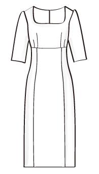 ハイウエスト切替七分丈ワンピース(OP-6) / High Waist Dress with 3/4 Sleeve