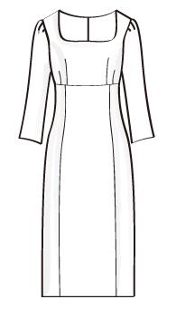 ハイウエスト切替長袖ワンピース(OP-7) / High Waist Dress with Long Sleeve