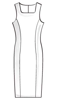 スクエアネックタイトワンピース(TCOP-1Q) / Square Neck Fitted Dress