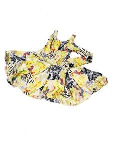 特注フレアーワンピース フラワーイエロー<br />Custom made item: flare dress in yellow floral print