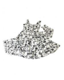 特注フレアーワンピース フラワーホワイト<br /> Custom made item: flare white dress in floral print