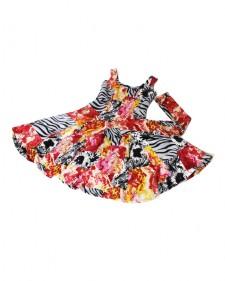 特注フレアーワンピース フラワーレッド<br />Custom made item: flare dress in red floral print