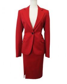 スカートスーツ スエード調ギャバストレッチ レッド<br /> Red Suede toned Skirt Suit