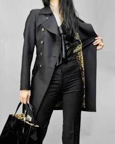 トレンチコート シルキー加工ブラック<br />Black Silk Processed Trench Coat