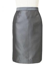 タイトスカート後ろベント グレーストライプ<br />Gray Polyester Striped Pencil Skirt with Vent