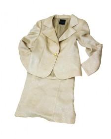 スカートスーツ スパンジャカードベージュ<br /> Beige Polyester Jacket & Skirt