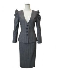 スカートスーツ グレー ストライプ(ピンク)<br />Gray Wool Mix Skirt Suit with puffed sleeves