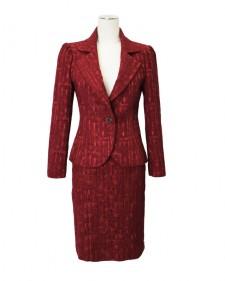 スカートスーツ フクレジャカード レッド<br /> Red Polyester Mix Jacquard Jacket & Skirt