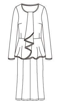 ぺプラムフリルカットソー&フレアスカート セットアップ(MC-BL-2 & MC-SK-1) / Peplum Top and Flare Skirt