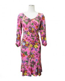 ワンピース8枚はぎフレアー<br />Pink Paneled Dress in Floral Print