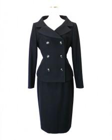 スカートスーツ ネイビー<br />Navy Cotton Jacket & Skirt