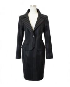 スカートスーツ グレー ストライプ<br />Black Lace Jacket & Skirt
