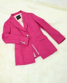 【女優大地真央さん衣装提供】セミロングジャケット<br />Beloved by Japanese celebrity fuchsia Semilong Jacket