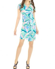 カシュクール半袖センターフリルタイト PAROLARI EMILIO PUCCI Fitted Wrap Dress with Frill at Front PAROLARI EMILIO PUCCI