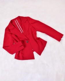 スクエアシングルジャケット レッド<br />Red Single-Breasted Jacket with Square Hem