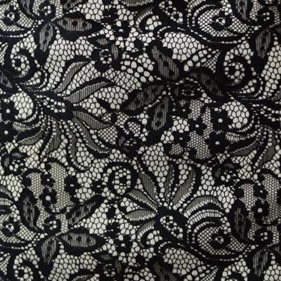 両耳スカララッセルレース デシンボンディング加工 / White & Black Bonded Lace(KBD7068C-1-C)
