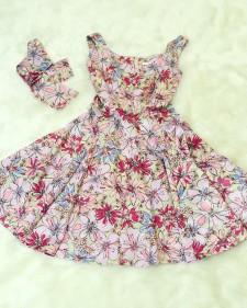 サーキュラーワンピースベージュ&ピンク花柄/Circular dress in Floral print