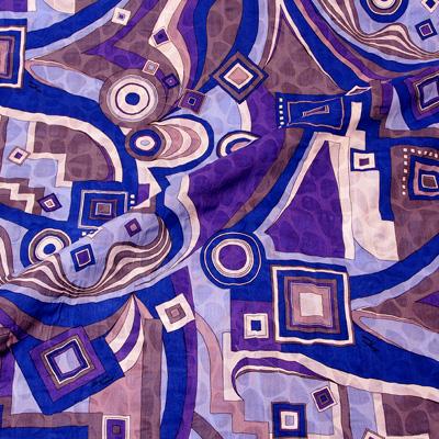 エミリオプッチ薄手サッカー生地幾何学模様ブルー×パープル×グレー/PAROLARI EMILIO PUCCI 100% Cotton Fabric in Geometric Print, Blue×Purple×Gray