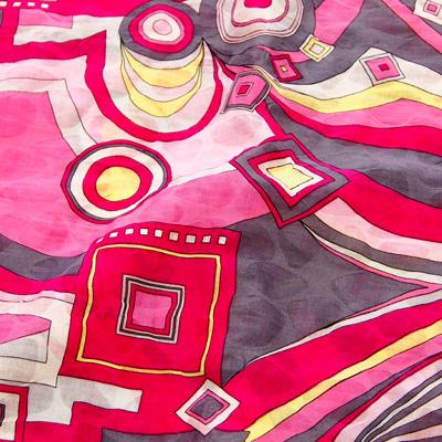 PAROLARI EMILIO PUCCIエミリオプッチ薄手サッカー生地幾何学模様ピンク×グレー/100% Cotton Seersucker, Geometric Print, Pink×Gray
