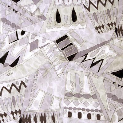 PAROLARI EMILIO PUCCIエミリオプッチ薄手サッカー生地幾何学模様ライトパープル×ライトベージュ×ブラック/100% Cotton Seersucker, Geometric Print, Light Purple×Light Beige×Black