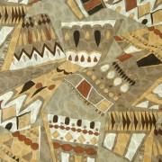 エミリオプッチ薄手サッカー生地幾何学模様ライトブラウン×ベージュ×ブラック/PAROLARI EMILIO PUCCI 100% Cotton Fabric in Geometric Print, Light Brown×Beige×Black