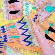 PAROLARI EMILIO PUCCIエミリオプッチ薄手サッカー生地幾何学模様ピンク×グレー/100% Cotton Seersucker, Geometric Print,  Yellow×Pink