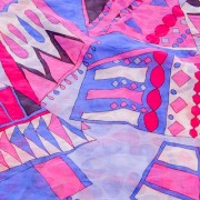 PAROLARI EMILIO PUCCIエミリオプッチ薄手サッカー生地幾何学模様ピンク×パープル/100% Cotton Seersucker, Geometric Print, Purple×Pink