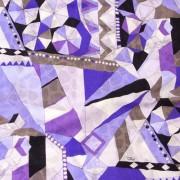 エミリオプッチ薄手サッカー生地幾何学模様ブルー×パープル×ブラック/PAROLARI EMILIO PUCCI 100% Cotton Fabric in Geometric Print, Blue×Purple×black