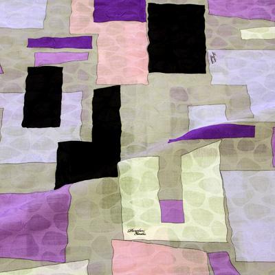 PAROLARI EMILIO PUCCIエミリオプッチ薄手サッカー生地幾何学模様グレー×パープル×ブラック/100% Cotton Seersucker, Geometric Print,  Gray×Purple×Black
