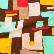 PAROLARI EMILIO PUCCIエミリオプッチ薄手サッカー生地幾何学模様ブラウン×ブルー×ピンク/100% Cotton Seersucker, Geometric Print,  Brown×Blue×Pink
