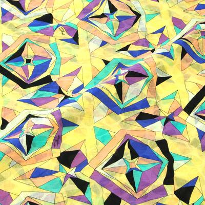 PAROLARI EMILIO PUCCIエミリオプッチ薄手サッカー生地幾何学模様イエロー×パープル/100% Cotton Seersucker, Geometric Print,  Yellow×Purple