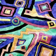 PAROLARI EMILIO PUCCIエミリオプッチ薄手サッカー生地幾何学模様ブルー×パープル/100% Cotton Seersucker, Geometric Print,  Purple×Blue