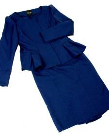 ダークネイビー光沢織柄ぺプラムスカートスーツ<br />Peplum jacket & skirt in a glossy dark navy fabric