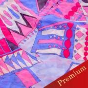 PAROLARI EMILIO PUCCIエミリオプッチ薄手サッカー生地幾何学模様ピンク×パープル/Sucker Cotton100% geometry Purple×Pink