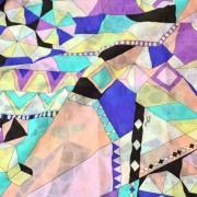 PAROLARI EMILIO PUCCIエミリオプッチ薄手サッカー生地幾何学模様ライトイエロー×パープル×パステルオレンジ/ Cotton 100% Seersucker, Geometric Print, Light Yellow×Purple×Orange