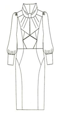 ブラック無地シフォン袖 ロールネックフロントフリルワンピース(MCOP-15) Role neck front frill dress with chiffon sleeves