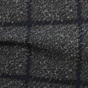 ナイロンハイテンションプリント(裏起毛)グレー&ネイビー格子柄(49686-1)Nylon Printed Knitted Fabric Gray & Navy Plaid