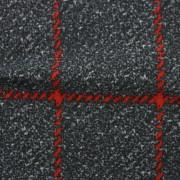 ナイロンハイテンションプリント(裏起毛)グレー&レッド格子柄(49686-2)Nylon Printed Knitted Fabric Gray & Red Plaid