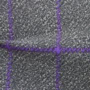 ナイロンハイテンションプリント(裏起毛)グレー&パープル格子柄(49686-3)<br />Raised Gray & Purple Plaid Fabric