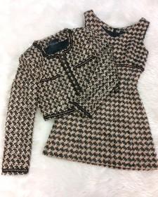 イギリスのLINTONの高級ツイード素材で茶色・黒ワンピーススーツ<br />Dress Suit in Brown & Black Made of High Quality Linton Tweed from England